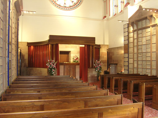 The Interior of the Old Chapel at Manchester Crematorium