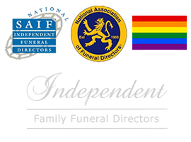SAIF Independent Funeral Directors, National Association of Funeral Director, Rainbow Flag and Independent Funeral Directors logos